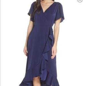 Chelsea28 navy midi wrap dress L